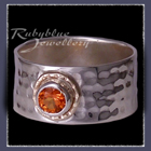 14 Karat Yellow Gold, Sterling Silver and Poppy Topaz 'Flair' Ring Image