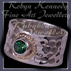 14 Karat Yellow Gold, Sterling Silver and Rainforest Green Topaz 'Flair' Ring Image
