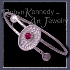 Sterling Silver and Genuine Pure Pink Fuschia Topaz 'Fleur' Bnagle / Bracelet Image