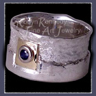 18 Karat Yellow Gold, Sterling Silver and Ceylon Blue Sapphire 'Freedom' Ring image