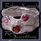 14 Karat Yellow Gold, Sterling Silver, Mozambique Garnet, AAA Rhodolite Garnet and Baby Pink Topaz 'Garnet Pleasures' Ring Image