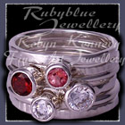 Sterling Silver, Mozambique Garnet, Pink Topaz and Swarovski Cubic Zirconias 'Revelry'Stacker Rings Image