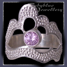 Sterling Silver and Swarovski Lavendar Cubic Zirconia 'Grace' Ring Image