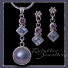 Sterling Silver, Pearl, Blue Topaz & Amethyst 'Into the Blue' Pendant and Earrings Image