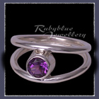 Sterling Silver and Genuine Amethyst 'Iris' Ring Image