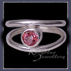 Sterling Silver and Genuine Pure Pink Topaz 'Iris' Ring Image