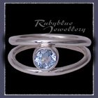 Sterling Silver and Genuine Ice Blue Topaz 'Iris' Ring Image
