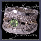 10 karat Yellow Gold, Sterling Silver and AA Peridot 'Jovial' Ring Image
