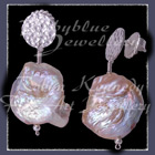 Sterling Silver and Peach Cultured Freshwater Coin Pearl 'Peachy moon' Earrings Image