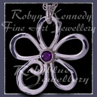 Sterling Silver and AA Amethyst 'Loves Me' Flower Pendant Image