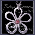 Sterling Silver and Pink Topaz 'Loves Me' Flower  Pendant Image