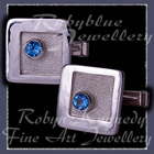 Sterling Silver and Swiss Blue Topaz 'Miles High' Cufflinks Image