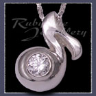 Sterling Silver & Swarovski Cubic Zirconia 'Music Note' Pendant Image