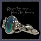 18 Karat White Gold and Genuine Blue Opal 'Mysterium' One-of-a-Kind Ring Image