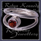Sterling Silver and Red Mozambique Garnet  'Iris' Ring Image