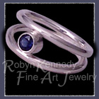 Sterling Silver and Genuine Blue Sapphire 'Iris' Ring Image