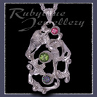 Sterling Silver, Passion Pink Topaz, Peridot & Mystic Green Topaz 'Phoenix' Pendant Image