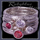Sterling Silver, Pure Pink Topaz, Rhodolite Garnet and Swarovski Cubic Zirconias 'Revelry'Stacker Rings Image