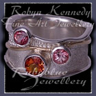 14 Karat Yellow Gold, Sterling Silver, Sunrise Mystic Ypoaz, Passion Pure Pink Topaz and Baby pink Topaz 'Sunrise Pleasures' Ring Image