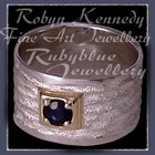 18 Karat Yellow Gold, Sterling Silver & Blue Sapphire Ring Image