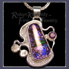 Sterling Silver, Ammolite and Amethyst 'Purple Daze' Pendant image