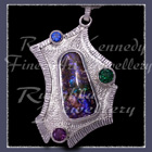 "Sterling Silver, Azurite-Malchite, Evergreen Topaz and Swiss Blue Topaz ""Road to Phi' Pendant Image"