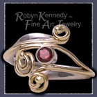 18 Karat Yellow and White Gold, Raspberry Rhodolite Garnet 'Raspberry Parfait' Ring Image