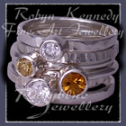Sterling Silver, Citrine and Honey Topaz and Swarovski Cubic Zirconias, 'Revelry' Stacker Rings Image