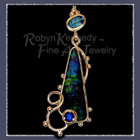 14 Karat Yellow Gold, Ammolite, Blue Sapphire and Sky Blue Topaz 'Rhapsody in Blue' Pendant Image