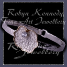14 Karat Yellow Gold, Sterling Silver and White Topaz 'Rosey Fleur' Bangle Image