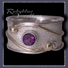 10 Karat Yellow Gold, Sterling Silver and Amethyst 'Serenity' Ring Image