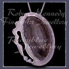 Fine, Sterlium & Sterling Silver, Grey Lace Agate & Cubic Zirconia's 'Silver Spirit' Pendant Image