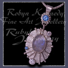 Argentium , Sterling and Fine Silver, Rainbow Moonstone, Paradise Blue Topaz and Swarovski Cubic Zirconia's 'Snow Queen' Pendant Image