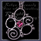 Sterling Silver and Passion Pink Topaz 'Spring' Flower Pendant Image
