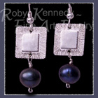 Sterling Silver and Cultured Black Freshwater Pearls 'Tribal Glam' Earrings Image
