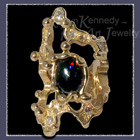 18 Karat Yellow Gold, Black Gilson Opal and Diamonds 'Stellar Luck' Ring Image