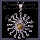10 Karat Yellow Gold, Sterling Silver and Honey Tiger's Eye 'Sun' Pendant Image