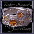 14 Karat Yellow Gold, Sterling Silver, AA Citrine, AAA Spessarite (Mandarin) Garnet and Honey Topaz 'Sunshine Pleasures' Ring Image