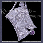 Sterling Silver, White Topaz and Amethyst 'Surrender'  Pendant Image