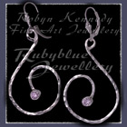 Sterling Silver and Lavendar Cubic Zirconia 'Swirls' Earrings Image