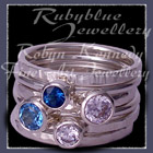 Sterling Silver, Swiss Blue and London Blue Topaz and Swarovski Cubic Zirconias, 'Revelry' Stacker Rings Image