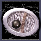 Sterlium, Sterling Silver and Black Star Sapphire, 'Total Eclipse' Tie Tac Image