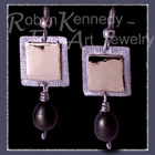 10 Karat Yellow Gold, Sterling Silver and Black Pearls 'Tribal Glam' Earrings Image