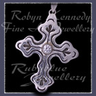 Sterling Silver and Cubic Zirconia 'Trinity' Cross Pendant Image
