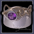 10 Karat Yellow Gold, Sterling Silver and Amethyst 'Twilight' Ring Image