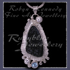 Sterling Silver, Black Drusy, Sky Blue Topaz and Cubic Zirconia 'Twilight' Pendant Image