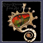 18 Karat Yellow and White Gold, Ammolite and Orange Sapphire Pendant / Brooch Image