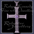 Sterling Silver and Lavendar Cubic Zirconia  'Visionary' Cross Pendant Image