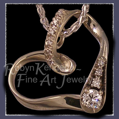 14 Karat White Gold and Diamonds 40th Anniversary Floating Heart Pendant Image