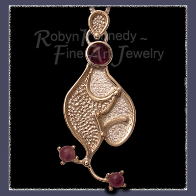 14 Karat Yellow Gold , Sterling Silver and Amethyst Gemstones, One-of-a-Kind 'Amethyst Curves' Pendant Image